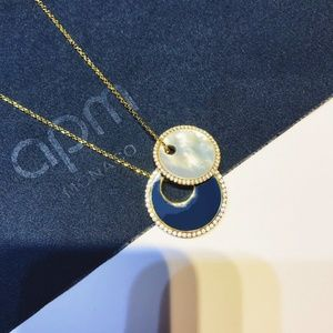 APM Necklace With Navy Enamel&White Nacre Pendants